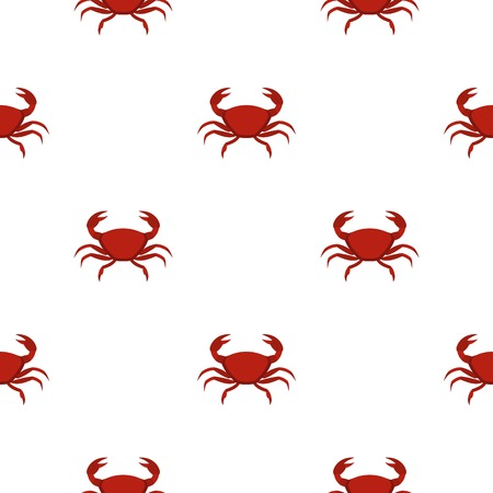 Red crab pattern seamless background in flat style repeat vector illustration