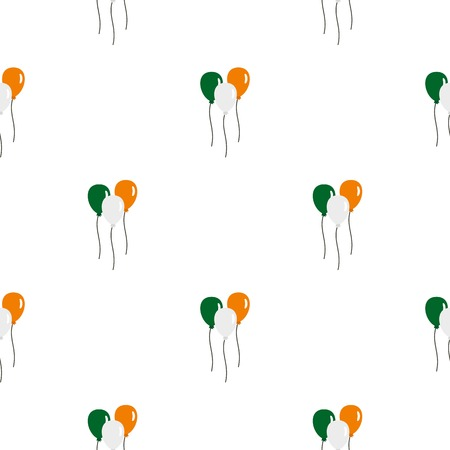 17th march: Balloons in Irish flag colors pattern seamless background in flat style repeat vector illustration