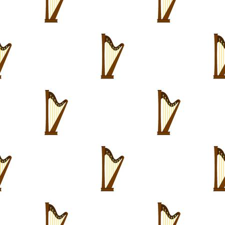 Wooden harp pattern seamless background in flat style repeat vector illustration