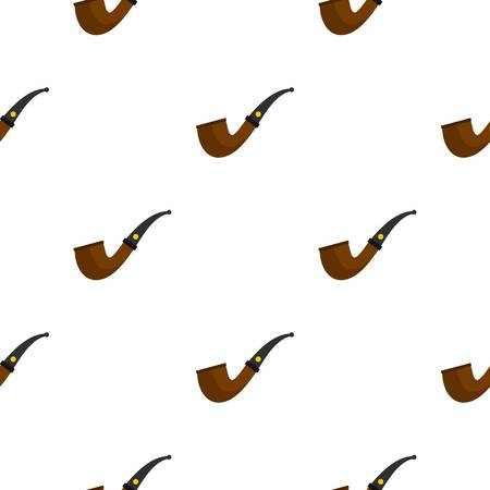 seamless clover: Wooden pipe for smoking pattern seamless background in flat style repeat vector illustration
