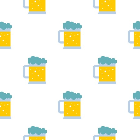 beers: Mug of beer pattern seamless background in flat style repeat vector illustration Illustration