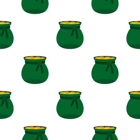 Green bag full of gold coins pattern seamless background in flat style repeat vector illustration Illustration