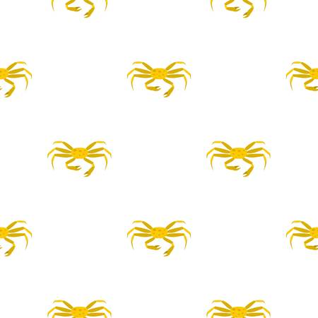 crab meat: Yellow crab pattern seamless background in flat style repeat vector illustration