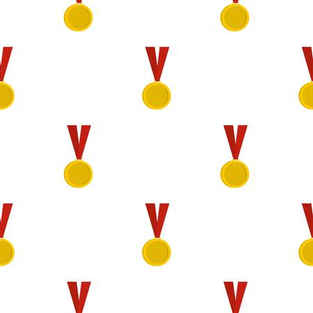 Gold medal pattern seamless background in flat style repeat vector illustration Illustration