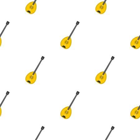 Saz baglama トルコ音楽楽器シームレスにバック グラウンド パターン フラット スタイルの繰り返しのベクトル図  イラスト・ベクター素材