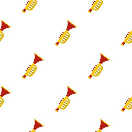 Colorful trumpet toy pattern seamless background in flat style repeat vector illustration Illustration