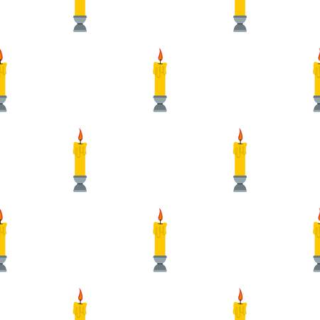 blue flame: Candle pattern seamless background in flat style repeat vector illustration