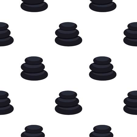 Stack of black basalt balancing stones pattern seamless background in flat style repeat vector illustration Illustration