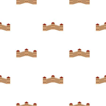 great wall of china: Majestic Great Wall of China pattern seamless background in flat style repeat vector illustration Illustration