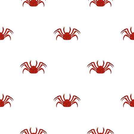 Red Alaska crab pattern seamless background in flat style repeat vector illustration Illustration