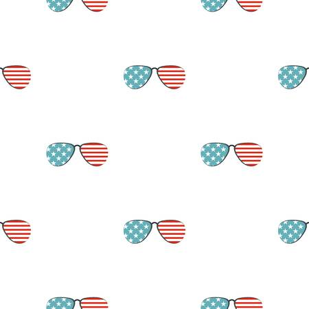 American glasses pattern seamless background in flat style repeat vector illustration