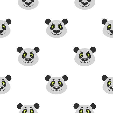 rare: Head of panda bear pattern seamless background in flat style repeat vector illustration