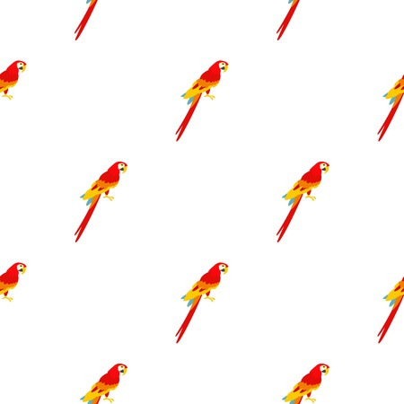 Scarlet macaws pattern seamless background in flat style repeat vector illustration