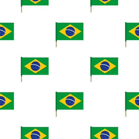 federative republic of brazil: National flag of Federative Republic of Brazil pattern seamless background in flat style repeat vector illustration