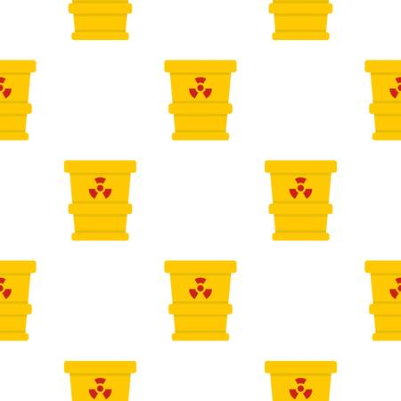 disaster: Yellow trashcan containing radioactive waste pattern seamless background in flat style repeat vector illustration