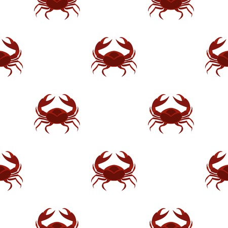 Red sea crab pattern seamless background in flat style repeat vector illustration