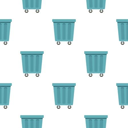 segregate: Outdoor blue trash can made of plastic pattern seamless background in flat style repeat vector illustration Illustration