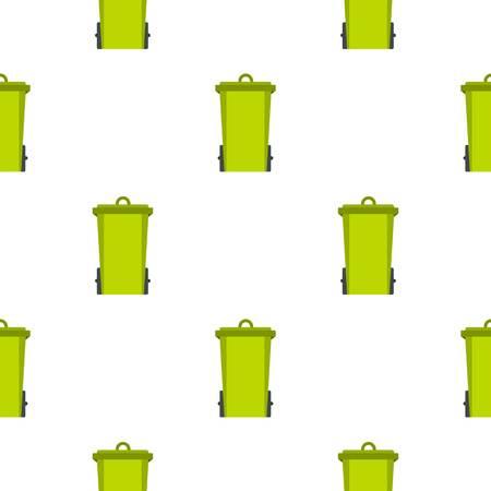 Green trash bin pattern seamless background in flat style repeat vector illustration Illustration