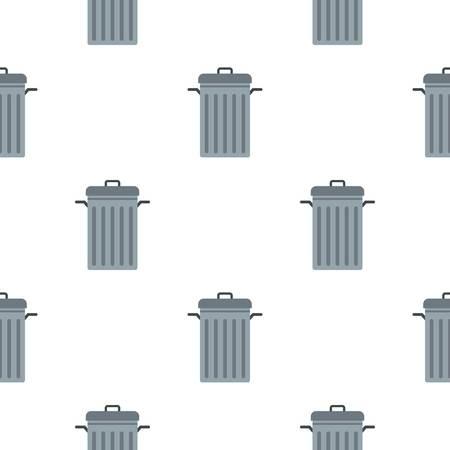 refuse: Steel bin pattern seamless background in flat style repeat vector illustration Illustration