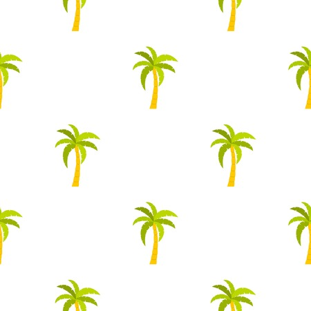 Green palm tree pattern seamless background in flat style repeat vector illustration