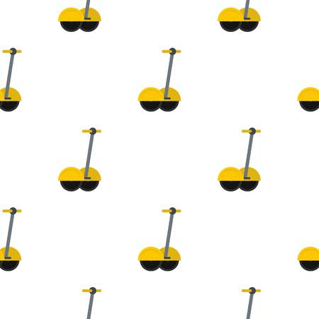 a two wheeled vehicle: Yellow two wheeled battery powered electric vehicle pattern seamless background in flat style repeat vector illustration Illustration
