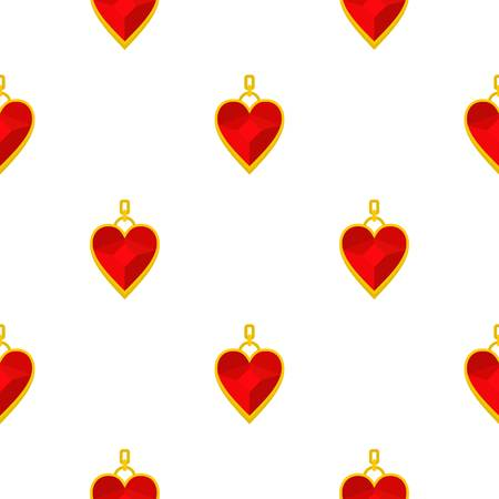Red heart shape gemstone pendant pattern seamless background in flat style repeat vector illustration