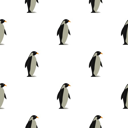 Penguin pattern seamless background in flat style repeat vector illustration Иллюстрация