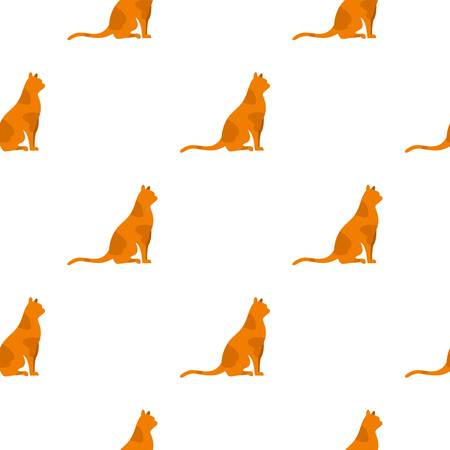 Sitting cat pattern seamless background in flat style repeat vector illustration
