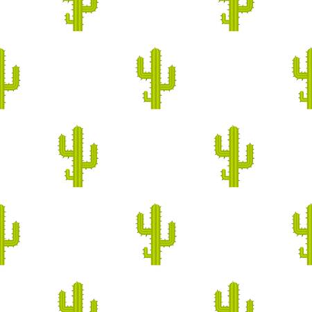 Green cactus pattern seamless background in flat style repeat vector illustration