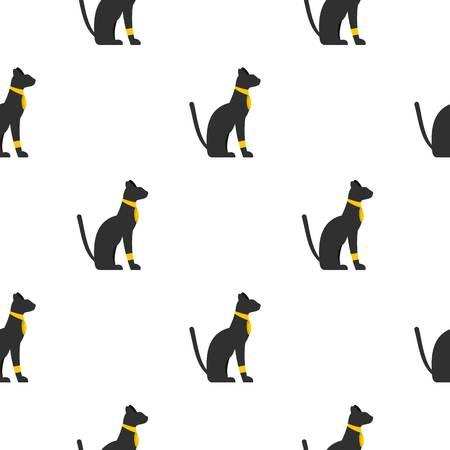 cat goddess: Black sitting Egyptian cat pattern seamless