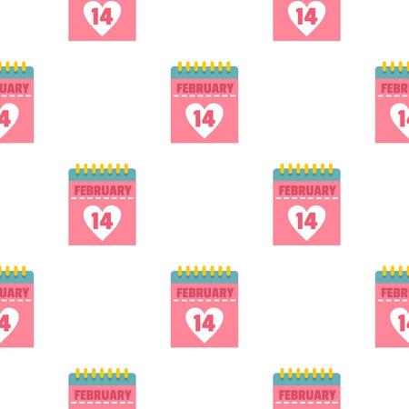 fourteen: Pink Valentines day calendar pattern seamless Illustration