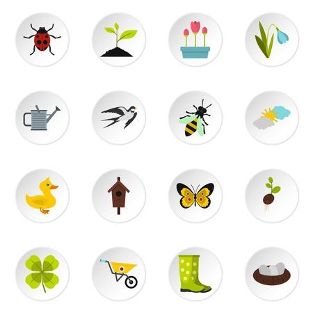 snowdrop: Spring icons set, flat style