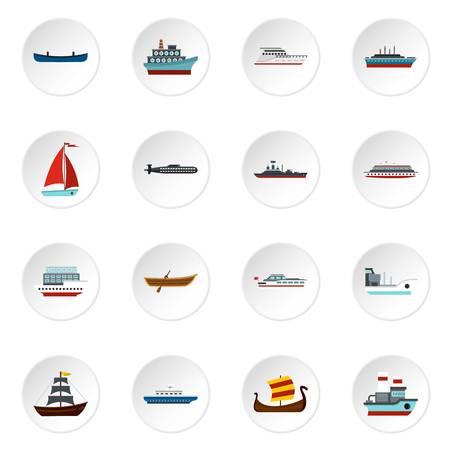 Sea transport set flat icons