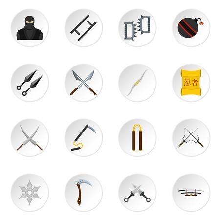 ninja tool: Ninja tools icons set in flat style Illustration