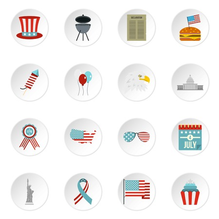 declaration of independence: Independence day flag icons set in flat style