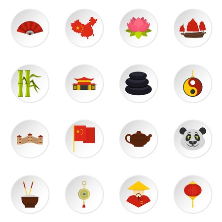 great wall of china: China travel symbols icons set in flat style Illustration