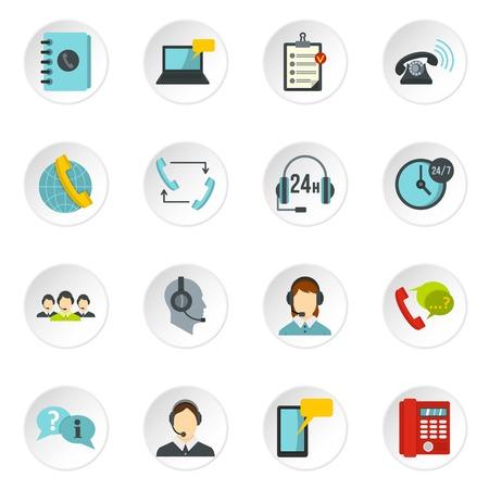 assisting: Call center symbols set flat icons