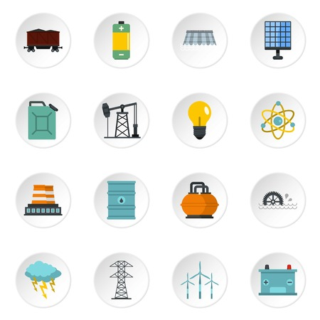 les installations d & # 39 ; énergie icons set dans le style plat