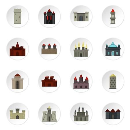 tours et châteaux icons set dans le style plat