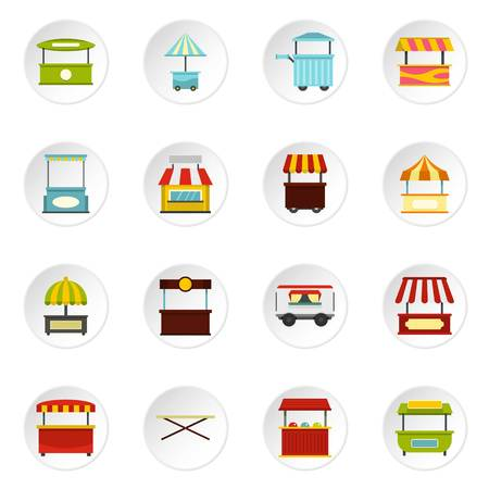 Street food truck icons set in flat style