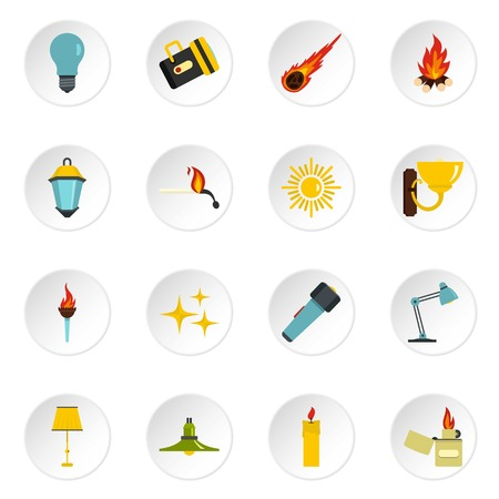 lighted: Light source symbols icons set in flat style