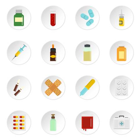 Different drugs icons set in flat style Çizim