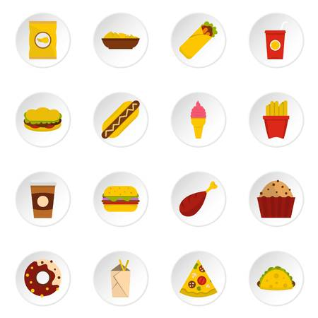 meats: Fast food icons set in flat style