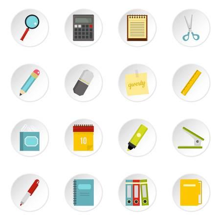 Stationery symbols icons set in flat style Illustration
