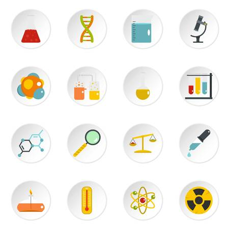 Chemical laboratory icons set in flat style Çizim