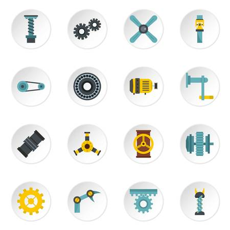 Techno mechanisms kit icons set in flat style