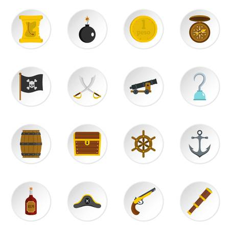 cocked hat: Pirate icons set in flat style