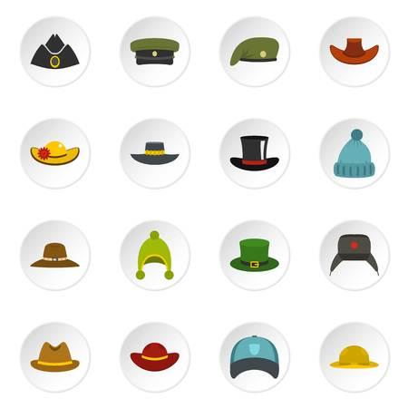 Nakrycia głowy kapeluszowe ikony ustawiać w mieszkanie stylu Ilustracje wektorowe