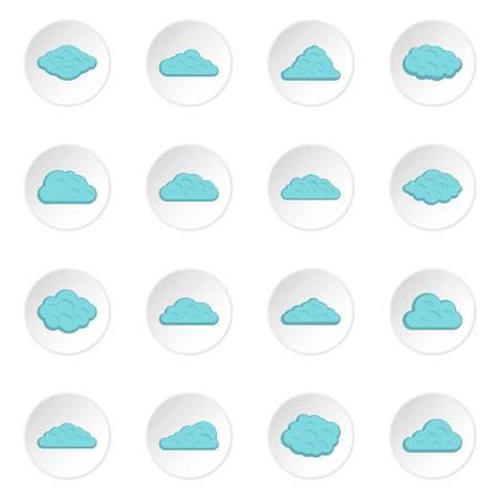 Wolkenpictogrammen in vlakke stijl worden geplaatst die
