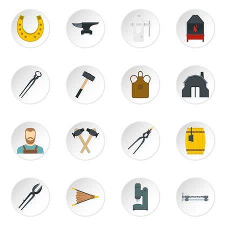 Blacksmith icons set in flat style